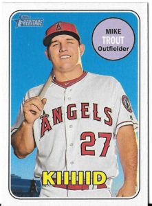 2018 Topps Heritage-Mike Trout Kiiiiid Nickname Variation